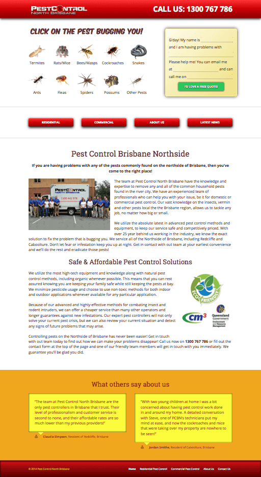 Pest Control North Brisbane Website