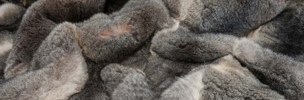 grey possum fur blanket